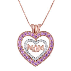 Lab-Created Pink and White Sapphire Mom Pendant Necklace
