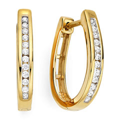 1/4 CT. T.W. 14K Yellow Gold Over Silver Diamond Hoop Earrings