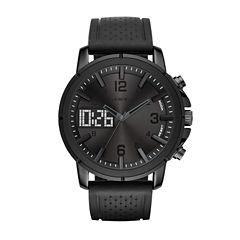 Geneva Mens Black Strap Watch-Fmdjm573