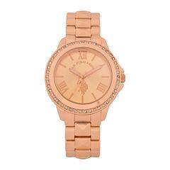 U.S. Polo Assn.® Womens Rose Gold-Tone Crystal Bezel Bracelet Watch