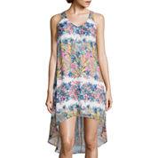 Fire Sleeveless Print Chiffon High-Low Dress- Juniors