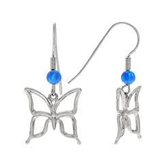 Simulated Blue Opal Sterling Silver Butterfly Dangle Earrings