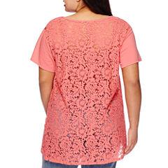 Boutique+ Short-Sleeve Lace Tee - Plus