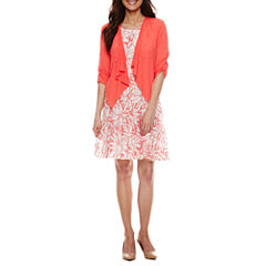Perceptions 3/4 Sleeve Jacket Dress-Petites