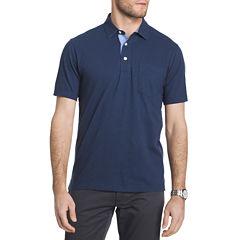 IZOD Easy Care Short Sleeve Solid Slubbed Polo Shirt