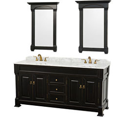 Andover 72 inch Double Bathroom Vanity; White Carrera Marble Countertop; Undermount Oval Sinks; and28 inch Mirrors