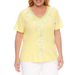 Alfred Dunner Short Sleeve V Neck T-Shirt-Plus