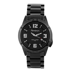 Armitron® All Sport Mens Black Stainless Steel Bracelet Watch