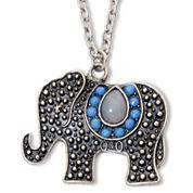 Decree® Textured Elephant Pendant Necklace