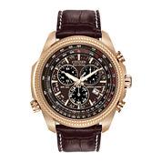 Citizen® Eco-Drive® Mens Perpetual Calendar Chronograph Brown Strap Watch BL5403-03X