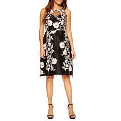 Studio 1 Sleeveless Embellished Fit & Flare Dress-Petites
