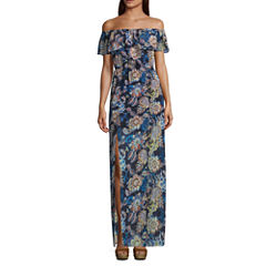 My Michelle Short Sleeve Maxi Dress-Juniors