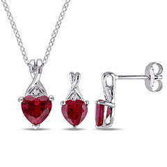 Womens 2-pc. Red Lab Created Ruby Sterling Silver Jewelry Set