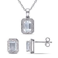 Womens 2-pc. 1/8 CT. T.W. Blue Aquamarine Sterling Silver Jewelry Set