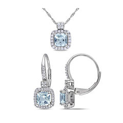 Womens 2-pc. 1/3 CT. T.W. Blue Aquamarine 10K Gold Jewelry Set