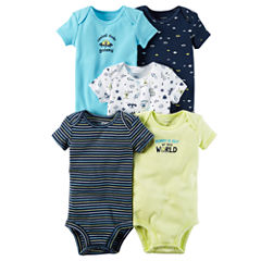 Carter's Little Baby Basics Boy 5-Pack Short Sleeve Bodysuits