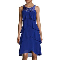SL Fashions Sleeveless Front-Tier Cutout Dress