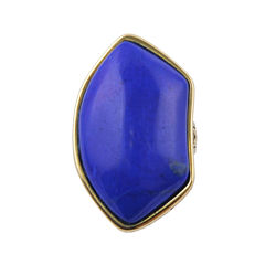 Art Smith by BARSE Genuine Dark Blue Howlite & Yellow Brass Ring