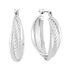Liz Claiborne® Silver-Tone Textured Hoop Earrings