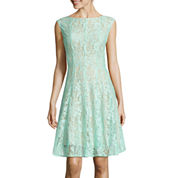 Danny & Nicole® Sleeveless Lace Vertical Seam Fit-and-Flare Dress