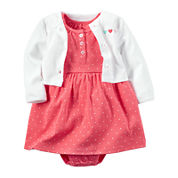 Carter's® 2-pc. Polka Dot Dress & Cardigan Set - Baby Girl Newborn-24m