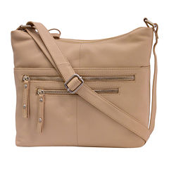 St. John's Bay® Leather Double-Zipper Hobo Crossbody Bag
