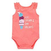 Okie Dokie® Ruffle-Shoulder Tank Bodysuit - Baby Girls newborn-24m