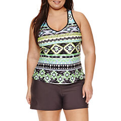 Zeroxposur Geometric Tankini Swimsuit Top-Plus