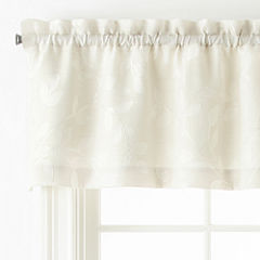 JCPenney Home Quinn Leaf Rod-Pocket Tailored Valance