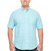 IZOD® Short-Sleeve Windowpane Chambray Shirt - Big & Tall