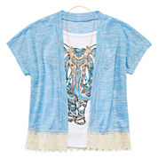 Beautees Graphic Tank Top and Short-Sleeve Lace-Trim Sweater with Necklace - Girls 7-16