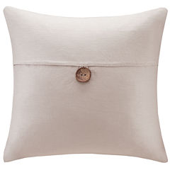 Madison Park Linen One-Button Square Feather Pillow