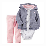 Carter's® Bodysuit, Jacket and Pants Set - Baby Girls newborn-12m