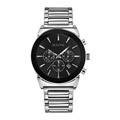 Bulova® Mens Silver-Tone Black Dial Chronograph Watch 96B203