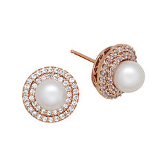 Certified Sofia™ Bridal Cultured Freshwater Pearl & Swarovski® Cubic Zirconia Rose Gold Over Silver Earrings