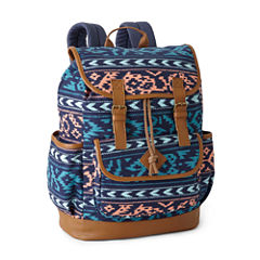 A D Sutton Print Cotton Drawstring Vinyl Bottom Backpack