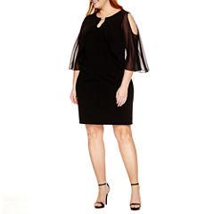 Ronni Nicole Elbow Sleeve Sheath Dress-Plus