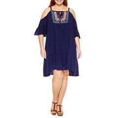 Luxology Short Sleeve Embroidered Sheath Dress-Plus