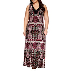 Jennie And Marlis Sleeveless Beaded Paisley Maxi Dress-Plus