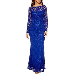 Blu Sage Long Sleeve Lace Sequin Evening Gown-Petites