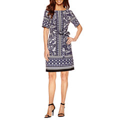 Danny & Nicole Short Sleeve Shift Dress-Petites