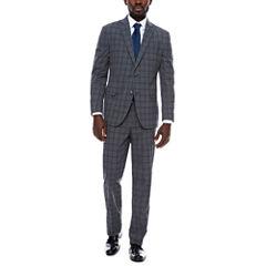 JF J. Ferrar Grey Blue Plaid Suit Separates-Slim