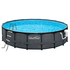 Summer Waves Elite Dark Wicker 15-ft Round Metal Frame Pool Package - 48-in Deep