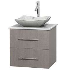 Centra 24 inch Single Bathroom Vanity; White Man-Made Stone Countertop; Avalon White Carrera MarbleSink; and No Mirror