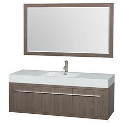 Axa 60 Inch Single Bathroom Vanity; Acrylic Resin Countertop; Integrated Sink; And 58 Inch Mirror