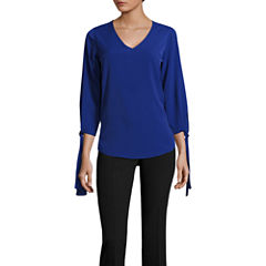 Worthington 3/4 Tie Sleeve V Neck T-Shirt