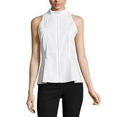 Worthington Sleeveless Crew Neck Woven Blouse