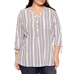 St. John's Bay 3/4 Sleeve Y Neck Woven Blouse-Plus