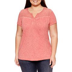 St. John's Bay Short Sleeve Split Crew Neck T-Shirt-Womens Plus