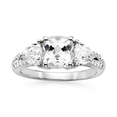 Lab-Created White Sapphire Sterling Silver 3-Stone Ring